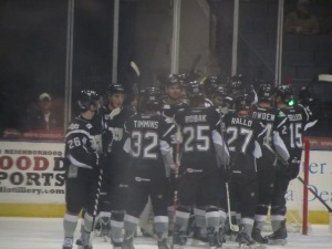 The San Antonio Rampage celebrate a victory (Photo by Amanda Land).