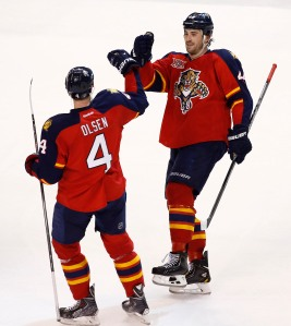 Dylan Olsen & Erik Gudbranson (Credit: Robert Mayer-USA TODAY Sports)